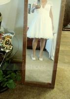 A-Line V-neck Knee-Length Tulle Wedding Dress With Lace Beading Appliques Lace Sequins (002081898)