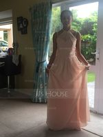 Scoop Neck Floor-Length Chiffon Prom Dresses With Ruffle (272208637)