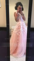 A-Line/Princess V-neck Floor-Length Tulle Prom Dresses With Beading Sequins (018105689)