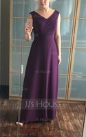 A-Line/Princess V-neck Floor-Length Chiffon Bridesmaid Dress With Ruffle (007068151)