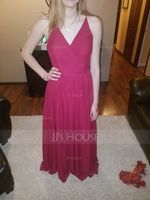 A-Line V-neck Floor-Length Chiffon Prom Dresses With Ruffle (018112675)