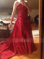 Ball-Gown Scalloped Neck Chapel Train Satin Quinceanera Dress With Ruffle (021020668)