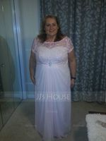 A-Line/Princess Scoop Neck Floor-Length Chiffon Lace Mother of the Bride Dress With Ruffle Beading Sequins (008062532)