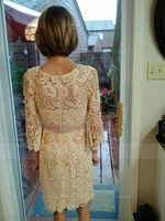 Sheath/Column Scoop Neck Knee-Length Lace Mother of the Bride Dress With Beading Flower(s) (267196361)