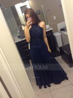 Scoop Neck Floor-Length Chiffon Prom Dresses With Beading (272235831)