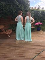 A-Line Scoop Neck Floor-Length Chiffon Lace Bridesmaid Dress With Ruffle (007116646)