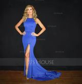 Trumpet/Mermaid Scoop Neck Court Train Jersey Prom Dresses With Split Front (018112733)