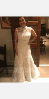 Trumpet/Mermaid High Neck Sweep Train Tulle Lace Wedding Dress With Beading (002127272)