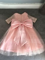 Knee-length Flower Girl Dress - Satin Tulle Lace 3/4 Sleeves Scoop Neck (269213940)
