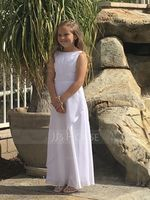 Scoop Neck Floor-Length Chiffon Junior Bridesmaid Dress With Cascading Ruffles (268239471)