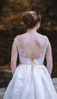 Ball-Gown Scoop Neck Chapel Train Satin Wedding Dress With Pockets (002107825)