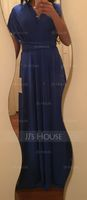 A-Line Floor-Length Jersey Bridesmaid Dress With Ruffle (266250728)