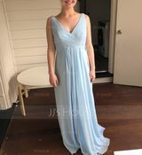 A-Line/Princess V-neck Floor-Length Chiffon Bridesmaid Dress With Ruffle Split Front (266177042)