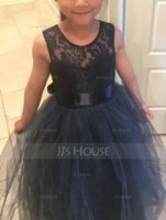 Ball-Gown/Princess Scoop Neck Floor-Length Tulle Junior Bridesmaid Dress With Sash (009126265)