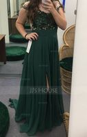 Scoop Neck Sweep Train Chiffon Prom Dresses With Split Front (272194625)