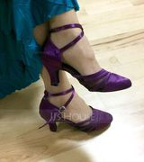 Women's Satin Heels Pumps Ballroom Dance Shoes (053107984)