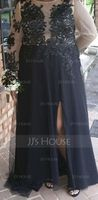 A-Line/Princess Scoop Neck Sweep Train Tulle Prom Dresses With Beading Sequins Split Front (018105702)