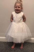 Knee-length Flower Girl Dress - Satin Tulle Lace Cotton Sleeveless Scoop Neck (269211932)