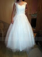 Ball-Gown Scoop Neck Floor-Length Tulle Wedding Dress With Lace Beading Appliques Lace Sequins (002081895)