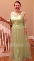 A-Line/Princess Scoop Neck Floor-Length Mother of the Bride Dress With Beading Appliques Lace Sequins (008077029)