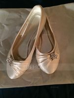 Women's Satin Flat Heel Closed Toe Flats With Rhinestone (273206982)