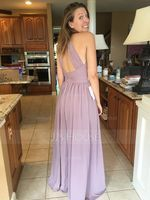 A-Line/Princess Scoop Neck Floor-Length Chiffon Bridesmaid Dress With Ruffle (266177056)