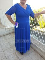 A-Line/Princess V-neck Ankle-Length Jersey Mother of the Bride Dress With Ruffle (008056881)