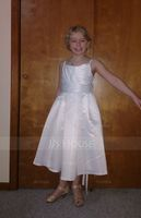 A-Line/Princess Tea-length Flower Girl Dress - Satin Sleeveless Square Neckline (010125826)