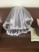 Two-tier Lace Applique Edge Elbow Bridal Veils With Applique (006078824)