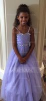 Ball Gown Floor-length Flower Girl Dress - Tulle Sleeveless Straps With Beading (Petticoat NOT included) (010094151)