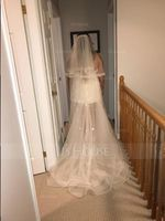 Two-tier Fingertip Bridal Veils With Ribbon Edge (006068309)