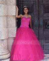 Ball-Gown Sweetheart Floor-Length Tulle Quinceanera Dress With Beading (021004578)