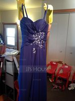 A-Line Sweetheart Floor-Length Chiffon Mother of the Bride Dress With Beading Sequins Cascading Ruffles (008006157)