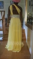 A-Line/Princess One-Shoulder Floor-Length Chiffon Prom Dresses With Ruffle Beading (018020583)