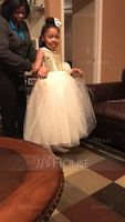 Ball Gown Ankle-length Flower Girl Dress - Tulle/Sequined Sleeveless Scoop Neck With Sequins/Bow(s) (010101903)