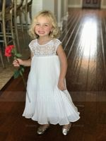 A-Line/Princess Knee-length Flower Girl Dress - Chiffon Sleeveless Scoop Neck With Ruffles/Beading (010090966)