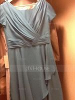 Square Neckline Knee-Length Chiffon Mother of the Bride Dress (267213551)