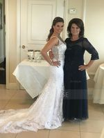 A-Line/Princess Scoop Neck Floor-Length Tulle Mother of the Bride Dress With Beading Sequins (267177715)