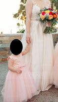Ball-Gown/Princess Knee-length Flower Girl Dress - Tulle/Lace Sleeveless Scoop Neck With Bow(s) (010093198)
