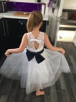 A-Line/Princess Tea-length Flower Girl Dress - Tulle/Lace Sleeveless Scoop Neck With Sash/Bow(s)/Back Hole (Undetachable sash) (010091698)