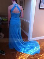 Trumpet/Mermaid Scoop Neck Chapel Train Chiffon Prom Dresses With Ruffle Beading Sequins (018016766)