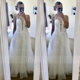 A-Line Illusion Sweep Train Tulle Wedding Dress With Beading Sequins (002107834)