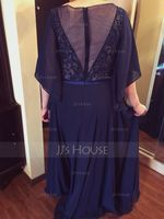 A-Line Scoop Neck Floor-Length Chiffon Mother of the Bride Dress With Ruffle Lace Beading Sequins (008050135)