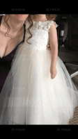 Knee-length Flower Girl Dress - Tulle Lace Sleeveless Scoop Neck (269215157)