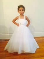 A-Line/Princess Asymmetrical Flower Girl Dress - Tulle Sleeveless Straps With Lace/Rhinestone (010091200)