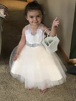Knee-length Flower Girl Dress - Tulle Lace Sleeveless With Appliques Bow(s) Rhinestone (269193674)