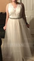 A-Line V-neck Sweep Train Tulle Lace Wedding Dress (002127250)