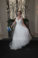 A-Line/Princess V-neck Sweep Train Tulle Wedding Dress With Beading Sequins (002107840)