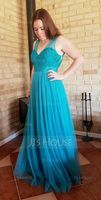 V-neck Floor-Length Tulle Bridesmaid Dress (266195811)
