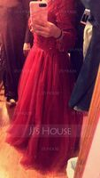 Ball-Gown V-neck Floor-Length Tulle Prom Dresses With Beading Sequins (018105705)